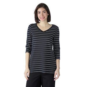 Issac Mizrahi Live! Striped Tunic 1X Black QVC